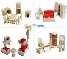 Childs Wooden Miniature Dolls House Furniture Set Role Play Toy Solid Wood