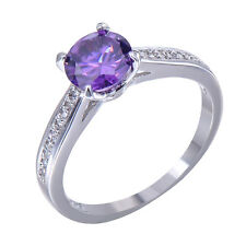 7MM Purple Amethyst Womens 10KT White Gold Filled Engagement Gift Ring Size 6-10