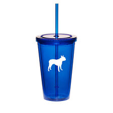 16oz Double Wall Acrylic Tumbler Pool Beach Cup Mug With Straw Boston Terrier