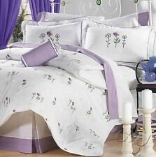 New Girls Teens Ladies Home Bedding AMORE FLORAL PURPLE WHITE Comforter Set