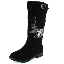 Fashion Rhinestone Military Combat Round Toe Slouch Mid Calf Casual Cowboy Boots