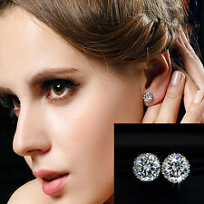 New Chic Crown 18K White Gold Crystal Princes Plated Ear Stud Earring Jewelry