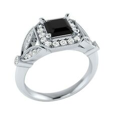 0.95 ct Black Spinel & White Sapphire Solid Gold Wedding Engagement Ring
