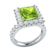 3.35 ct Green Peridot & White Sapphire Solid Gold Wedding Engagement Ring