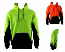 Hi Vis Full Zip Fleecy Fleece Hoodie w Kangaroo Pockets & Arm Pen & Phone Pocket