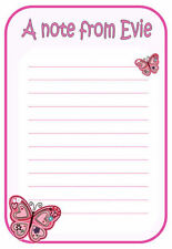 nc Personalised NOTELETS writing paper PINK BUTTERFLY A6 A5, pk 14 & envelopes
