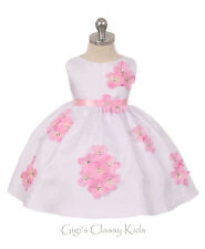 New Baby Flower Girl Shantung Pink Dress Wedding Birthday Formal Pageant 219F