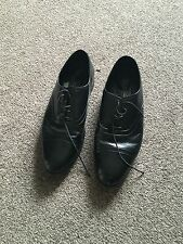M&S Marks and Spencer Mens all Black Leather Shoes size 9
