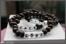 Handmade Round Dark Brown Wood Beads Named Stretch  Bracelet