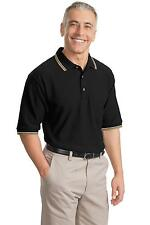 K431 Port Authority Men's Sport Shirt Cool Mesh Polo with Tipping Stripe Trim