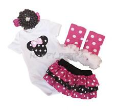 Baby Girl 4pcs Minnie Mouse Kids Clothing Infant Romper Headband Pant Outfit Set