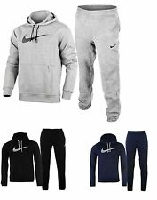 NEW MENS FLEECE BLACK GREY OVERHEAD NIKE FULL TRACKSUIT HOODED JOGGERS S - XL