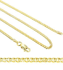 yellow Gold Plated 925 Sterling Silver 2MM Cuban Curb Chain Necklace
