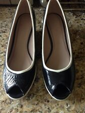 M&S FOOTGLOVE UK 5.5 Navy & White patent leather peep toe  wedge shoes