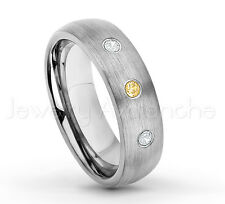 November Birthstone 0.21ctw Citrine & Diamond 3-Stone Dome Tungsten Ring #060