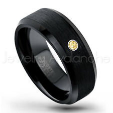 November Birthstone 0.07ct Citrine Ring, 8mm Brushed Black IP Tungsten Ring #166