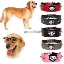 New Buckle Spiked Studded Adjustable Dog PU Leather Wolf Rivet Collar Neck Strap