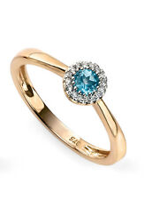9ct Yellow Gold Diamond And Blue Topaz Cluster Ring