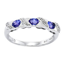 925 Sterling Silver 3 Stone Hugs Tanzanite and Diamond Ring - 0.444cttw
