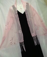 "PINK CHIFFON WITH BLACK FLORAL & SEQUIN SCARF,SHAWL WRAP,SARONG 68""X 25""--#240"