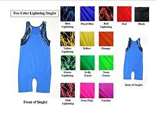 YOUTH TANK WRESTLING SINGLET WITH LIGHTNING ACCENTS-- YOU CHOOSE COLORS!
