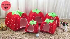 Doggy Kennel Dog Cat Bed Soft Puppy House Strawberry Warm Basket Cushion Pet
