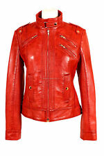 Ladies INSTINCT (2030) Red Waxed Biker Style Lambskin Leather Designer Jacket