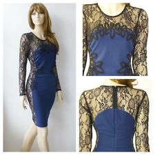 BNWT Lipsy Bodycon Party Dress With Long Lace Sleeve And Cornelli Detail