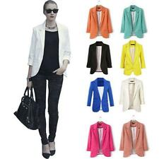 Womens Fashion Candy Color Casual Slim Solid Suit Blazer Jacket Coat Outwear