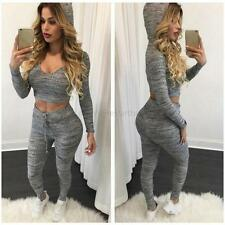 Casual Womens Hoodie Tops +Pants Set Sport Pullover Sweatshirt Tracksuit Gray