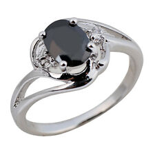 Black Sapphire Oval Crystal Band Women Gift 10K White Gold Filled Ring Size 6-10