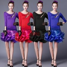 Latin Salsa Tango Chacha Samba Rumba Jive Ballroom Hot drilling Dance Dress H-22
