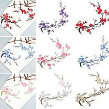 Embroidered Iron on Flower Patch Craft Plum Blossom Applique Motif Beautiful