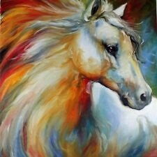 Modern Abstract Oil Painting Wall Decor Canvas White Horse 60x60cm
