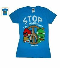 ANGRY BIRDS STOP THE MADNESS Girls Juniors Blue T-Shirt - Licensed