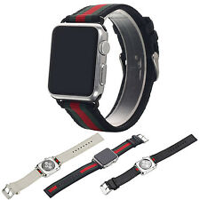 Nylon   Genuine Leather Watch Band Strap w/ Buckle Connector For Apple iWatch