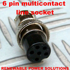 6 PIN STRAIGHT MULTI CONTACT LINE SOCKET FEMALE WITH CABLE GRIP MIC PLUG HAM etc