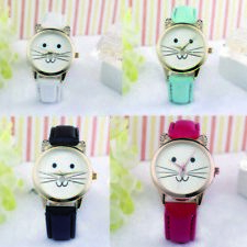 Neutral Casual Leather Watch Diamond Fashion Cats Face Quartz Watches Lovely