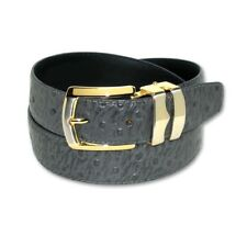 OSTRICH Pattern CHARCOAL GRAY Bonded Leather Men's Belt Gold-Tone Buckle Regular