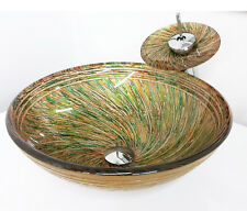 """16"""" Gold Green artistic Pattern Bathroom Tempered Glass Vessel Sink Faucet Combo"""