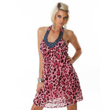 NEW SEXY HALTER NECK LEOPARD ANIMAL PRINT MINI DRESS WITH BEADING SIZE 8 10 12