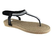 Isabella Brown Jewel Black Womens Flat Thong / Sandal (bkjewe)