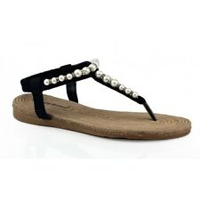 Isabella Brown Baroque Black Womens Flat Thong / Sandal (bkglee)