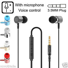 Universal 3.5mm In-Ear Stereo Earbuds Earphone With Mic For Cell Phone PC Laptop