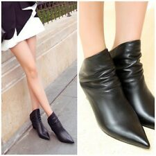 Leather Black Cut-Out Mules Ankle Booties Wedge Sandals Shoes