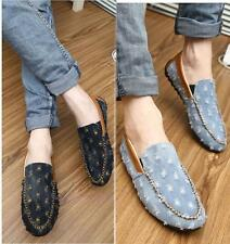 British Mens denim Jean Slip On Casual  Loafer driving Canvas Flat boat shoes
