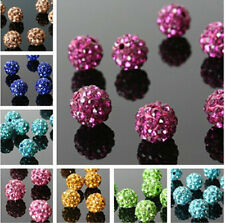 10Pcs Disco Ball Crystal Rhinestones Spacer Beads Round Clay Czech Pave