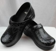 Dansko Professional Black Tooled Patent Leather Clogs Doctor/Nurses Shoes Klog