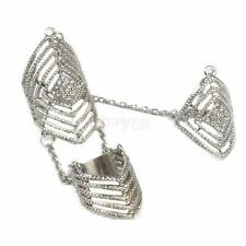 Rhinestone Full Finger Joint Chain Ring Armor Hollow Out Knuckle Rings Women