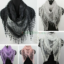 Special Line Made Floral Triangle Mantilla Scarf Shawl Wrap Lace Trim Tassel New